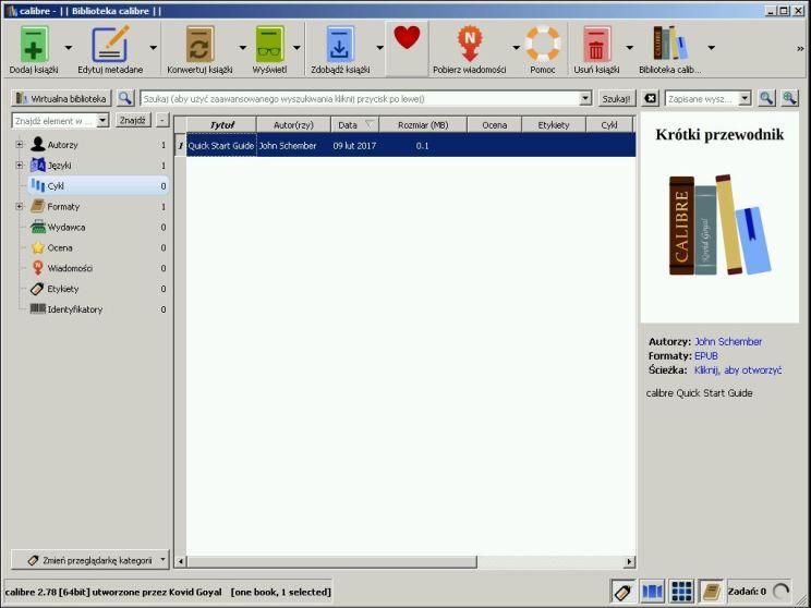 GUI podczas pierwszego uruchomienia programu